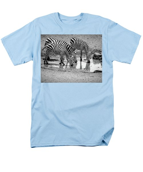 Men's T-Shirt  (Regular Fit) featuring the photograph Zebras At The Watering Hole by Marion McCristall