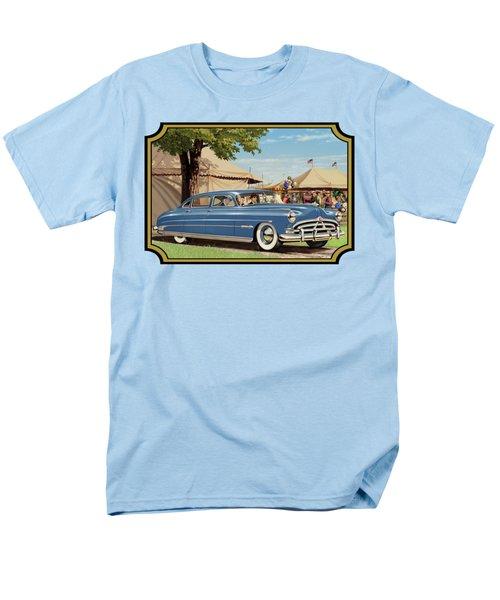 1951 Hudson Hornet Fair Americana Antique Car Auto Nostalgic Rural Country Scene Landscape Painting Men's T-Shirt  (Regular Fit)