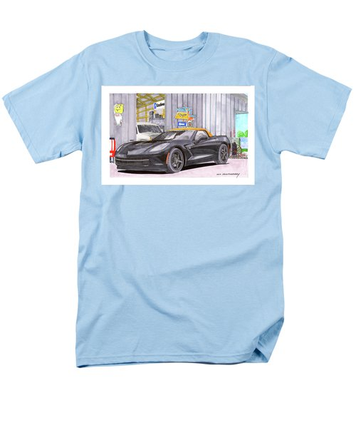 Men's T-Shirt  (Regular Fit) featuring the painting 2014 Corvette And Man Cave Garage by Jack Pumphrey