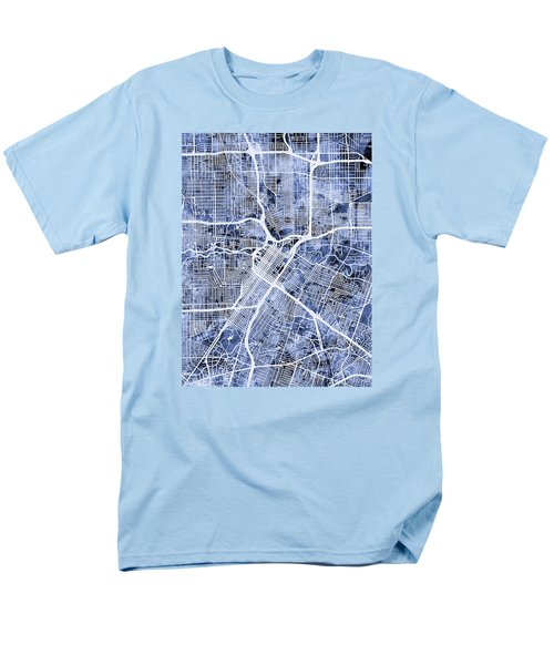 Houston Texas City Street Map Men's T-Shirt  (Regular Fit) by Michael Tompsett