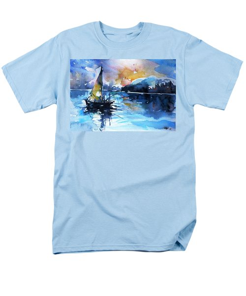 Men's T-Shirt  (Regular Fit) featuring the painting Sailboat by Kovacs Anna Brigitta
