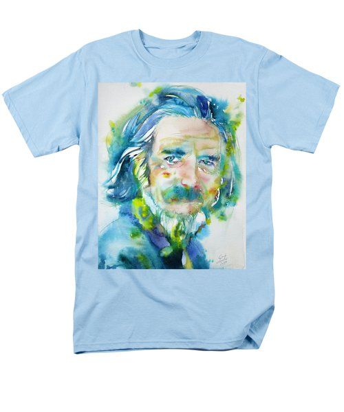 Men's T-Shirt  (Regular Fit) featuring the painting Alan Watts - Watercolor Portrait.4 by Fabrizio Cassetta