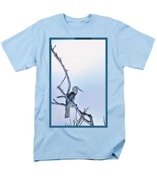 Anhinga In Blue Men's T-Shirt  (Regular Fit) by Pamela Blizzard