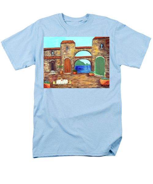 Men's T-Shirt  (Regular Fit) featuring the painting Arches Of Amalfi  by Larry Cirigliano