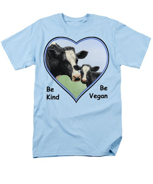 Holstein Cow And Calf Blue Heart Vegan Men's T-Shirt  (Regular Fit) by Crista Forest