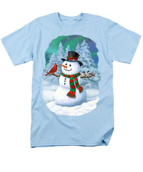 Sharing The Wonder - Christmas Snowman And Birds Men's T-Shirt  (Regular Fit) by Crista Forest