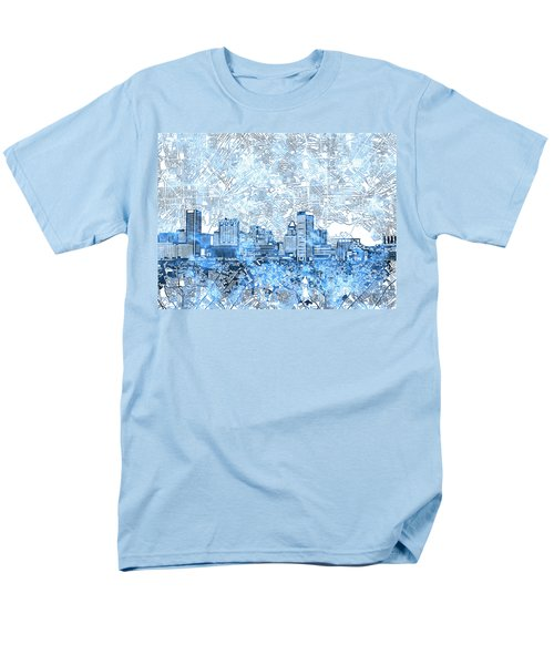 Men's T-Shirt  (Regular Fit) featuring the painting Baltimore Skyline Watercolor 9 by Bekim Art