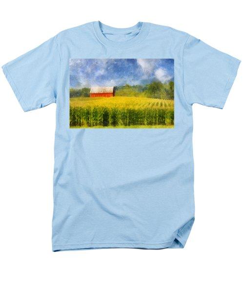 Men's T-Shirt  (Regular Fit) featuring the digital art Barn And Cornfield by Francesa Miller