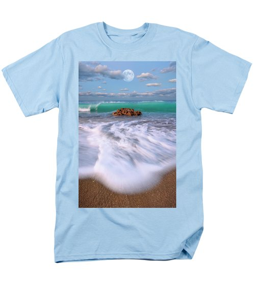Men's T-Shirt  (Regular Fit) featuring the photograph Beautiful Waves Under Full Moon At Coral Cove Beach In Jupiter, Florida by Justin Kelefas