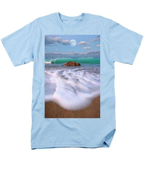 Beautiful Waves Under Full Moon At Coral Cove Beach In Jupiter, Florida Men's T-Shirt  (Regular Fit) by Justin Kelefas