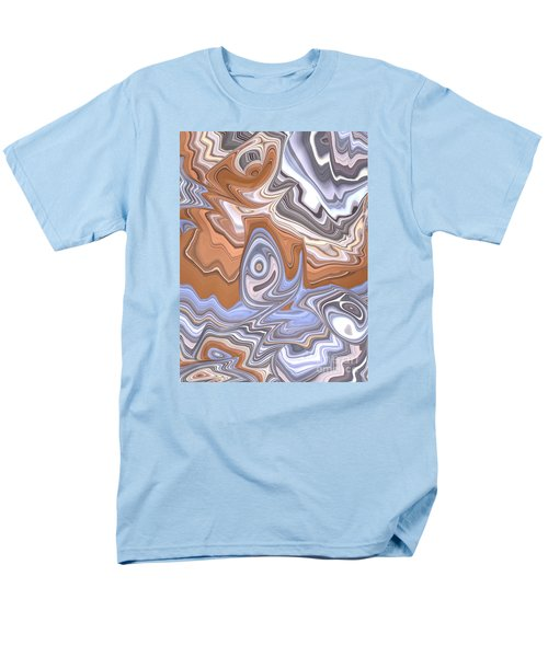 Beige And Blue Men's T-Shirt  (Regular Fit)