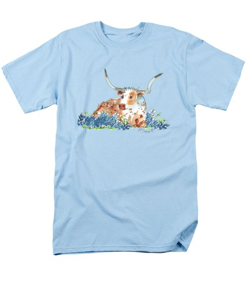 Bessie In The Bluebonnets Watercolor Painting By Kmcelwaine Men's T-Shirt  (Regular Fit) by Kathleen McElwaine