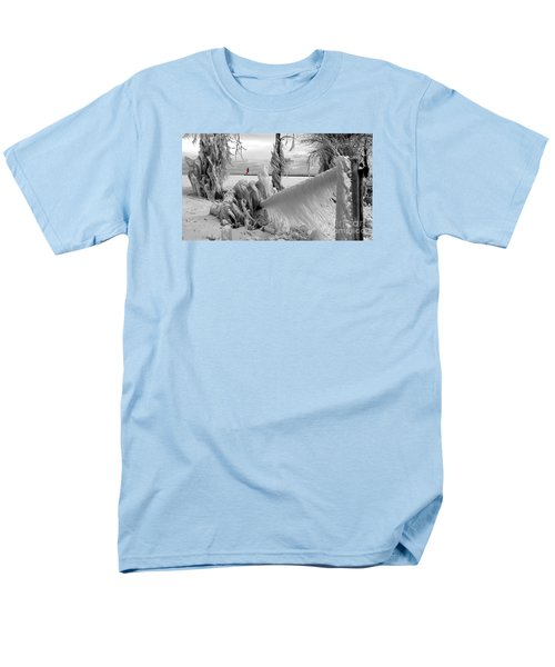 Men's T-Shirt  (Regular Fit) featuring the photograph Beyond The Icy Gate - Menominee North Pier Lighthouse by Mark J Seefeldt