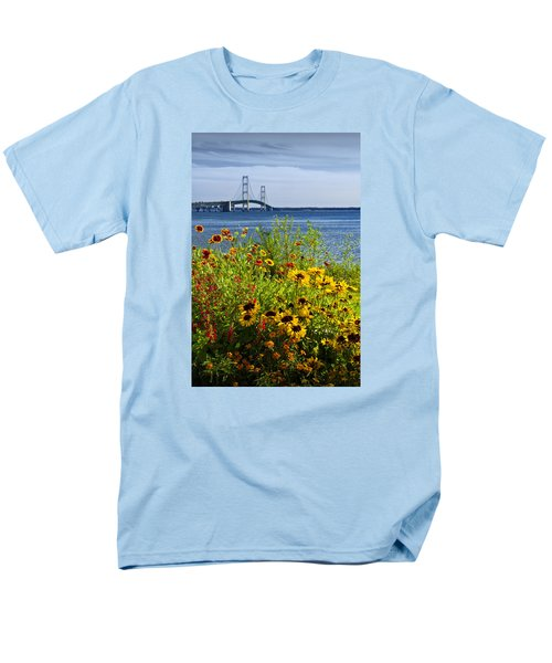 Blooming Flowers By The Bridge At The Straits Of Mackinac Men's T-Shirt  (Regular Fit) by Randall Nyhof
