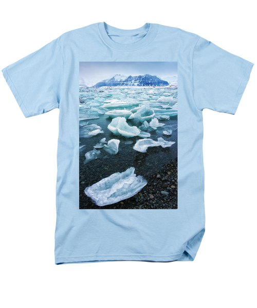 Men's T-Shirt  (Regular Fit) featuring the photograph Blue And Turquoise Ice Jokulsarlon Glacier Lagoon Iceland by Matthias Hauser