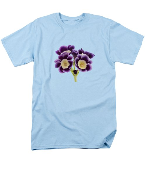 Men's T-Shirt  (Regular Fit) featuring the photograph Blue Auricula On A Transparent Background by Paul Gulliver