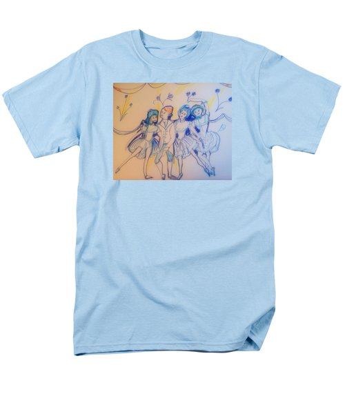 Blue Flower Polka Men's T-Shirt  (Regular Fit) by Judith Desrosiers