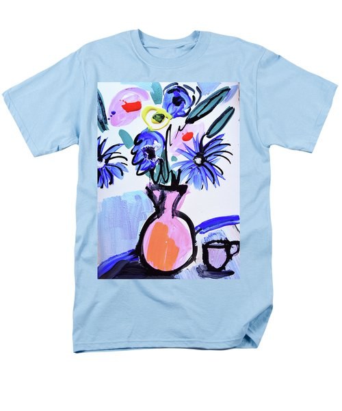 Blue Flowers And Coffee Cup Men's T-Shirt  (Regular Fit)