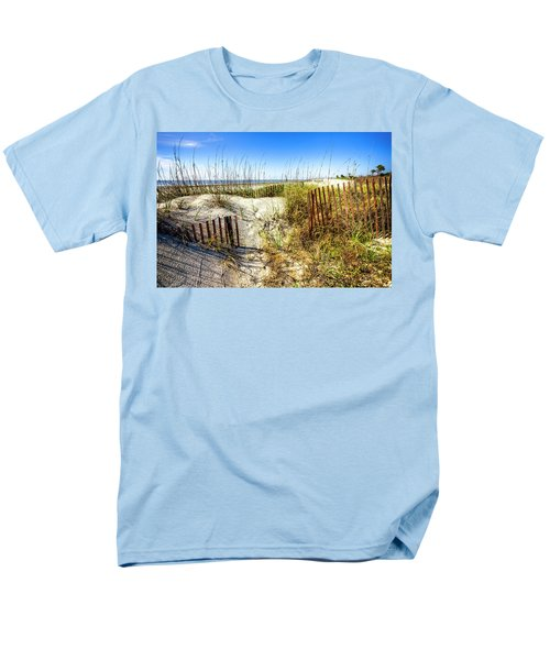 Men's T-Shirt  (Regular Fit) featuring the photograph Blue Sky Dunes by Debra and Dave Vanderlaan