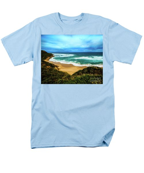Men's T-Shirt  (Regular Fit) featuring the photograph Blue Wave Beach by Perry Webster