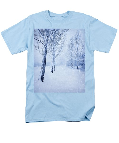 Blue Winter Path Men's T-Shirt  (Regular Fit) by Theresa Tahara
