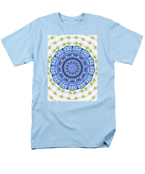 Blue With Green Dots Men's T-Shirt  (Regular Fit) by Shirley Moravec
