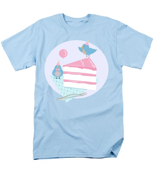 Bluebirds Love Birthday Cake Men's T-Shirt  (Regular Fit) by Little Bunny Sunshine