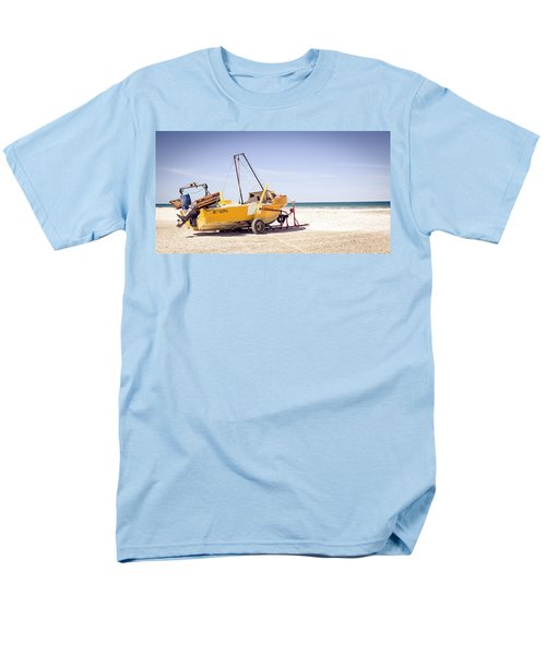 Men's T-Shirt  (Regular Fit) featuring the photograph Boat And The Beach by Silvia Bruno