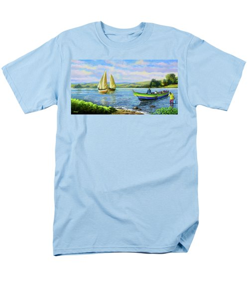 Men's T-Shirt  (Regular Fit) featuring the painting Boats At Lake Victoria by Anthony Mwangi