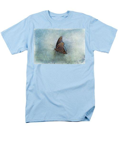 Men's T-Shirt  (Regular Fit) featuring the photograph Butterfly On Blue by Sandy Keeton