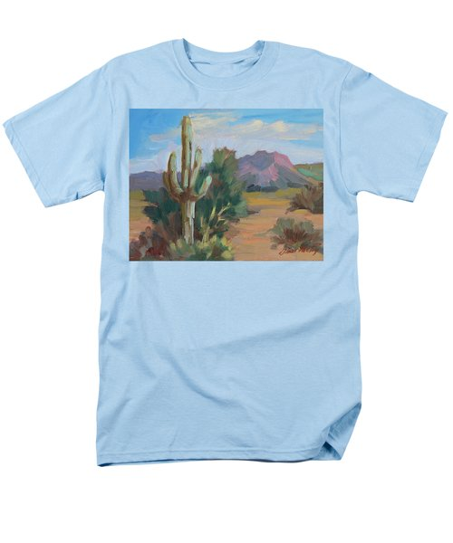 Men's T-Shirt  (Regular Fit) featuring the painting Cactus By The Red Mountains by Diane McClary