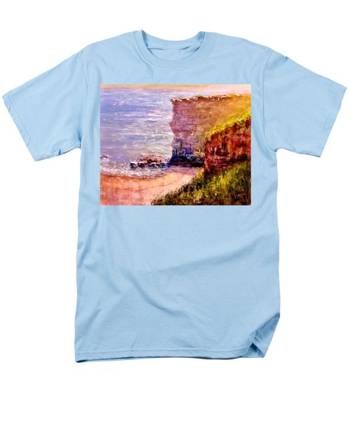 Men's T-Shirt  (Regular Fit) featuring the painting California Cliffs.. by Cristina Mihailescu