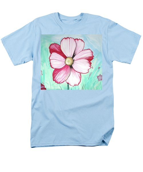 Men's T-Shirt  (Regular Fit) featuring the painting Candy Stripe Cosmos by Mary Ellen Frazee