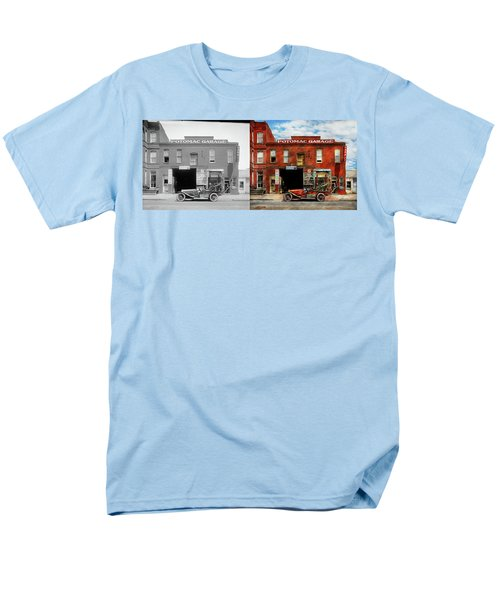 Men's T-Shirt  (Regular Fit) featuring the photograph Car - Garage - Misfit Garage 1922 - Side By Side by Mike Savad