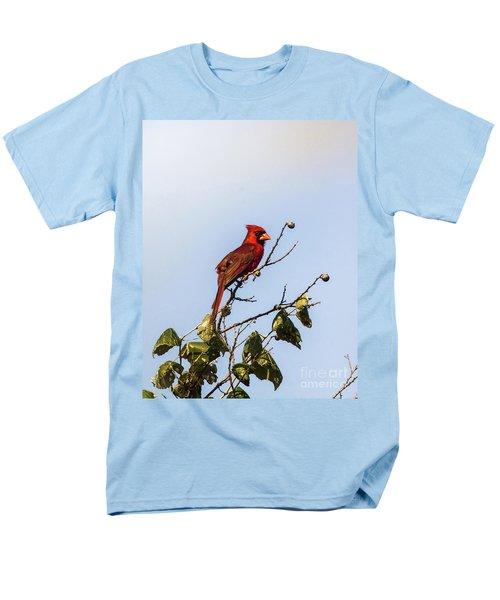 Men's T-Shirt  (Regular Fit) featuring the photograph Cardinal On Treetop by Robert Frederick