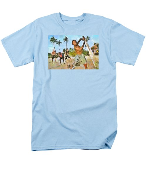 Men's T-Shirt  (Regular Fit) featuring the painting Caribbean Scenes - Cricket On De Beach by Wayne Pascall
