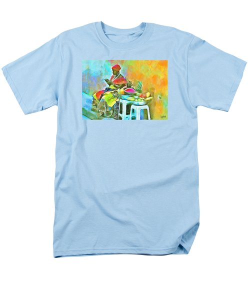 Men's T-Shirt  (Regular Fit) featuring the painting Caribbean Scenes - De Fruit Lady by Wayne Pascall
