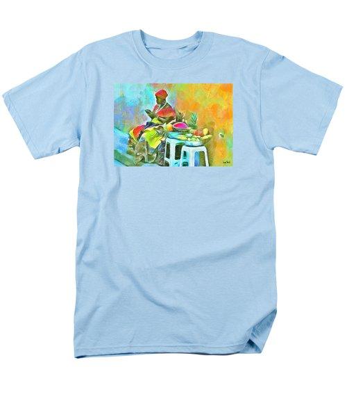 Caribbean Scenes - De Fruit Lady Men's T-Shirt  (Regular Fit) by Wayne Pascall