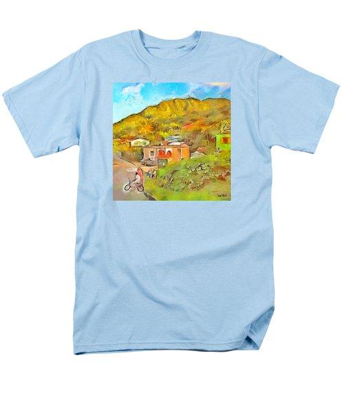 Men's T-Shirt  (Regular Fit) featuring the painting Caribbean Scenes - De Village by Wayne Pascall