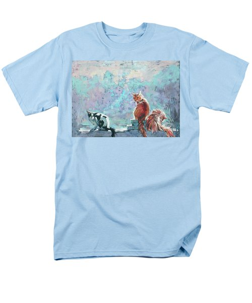 Men's T-Shirt  (Regular Fit) featuring the painting Cats. Washed By Rain by Anastasija Kraineva