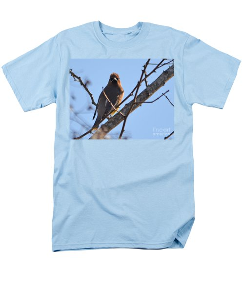 Cedar Wax Wing On The Lookout Men's T-Shirt  (Regular Fit) by Barbara Dalton