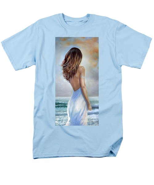 Men's T-Shirt  (Regular Fit) featuring the painting A Walk On The Beach by Michael Rock