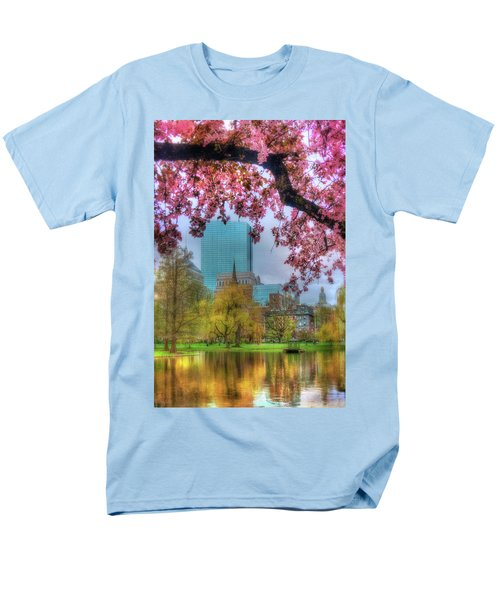Men's T-Shirt  (Regular Fit) featuring the photograph Cherry Blossoms Over Boston by Joann Vitali