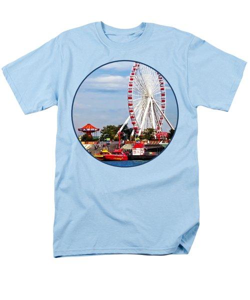 Chicago Il - Ferris Wheel At Navy Pier Men's T-Shirt  (Regular Fit) by Susan Savad