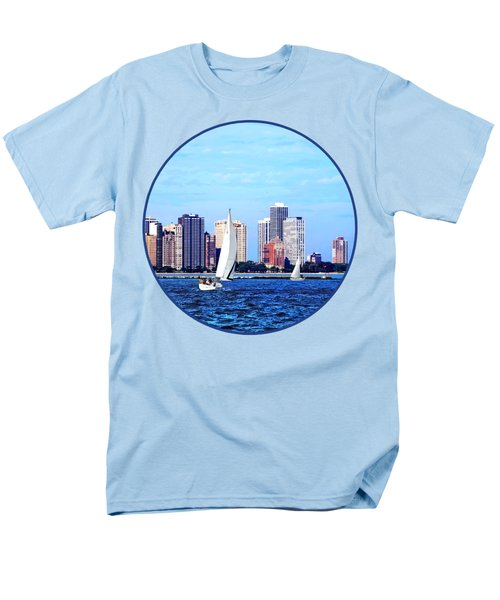 Chicago Il - Two Sailboats Against Chicago Skyline Men's T-Shirt  (Regular Fit) by Susan Savad