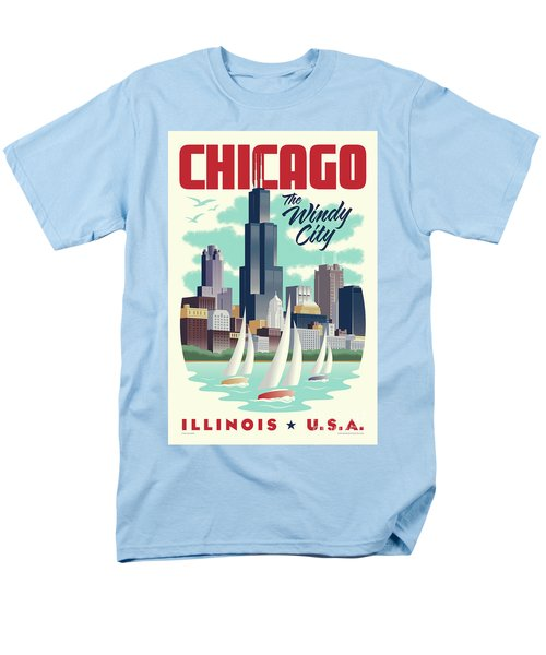 Chicago Retro Travel Poster Men's T-Shirt  (Regular Fit) by Jim Zahniser
