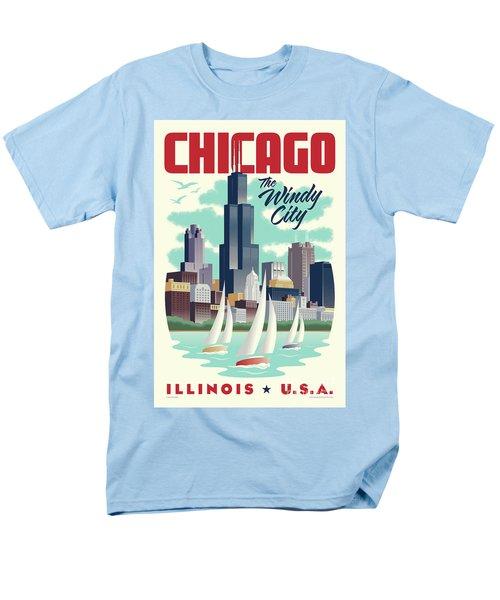 Chicago Retro Travel Poster Men's T-Shirt  (Regular Fit) by Jim Zahniser