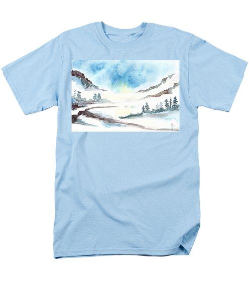 Children's Book Illustration Of Mountains Men's T-Shirt  (Regular Fit)