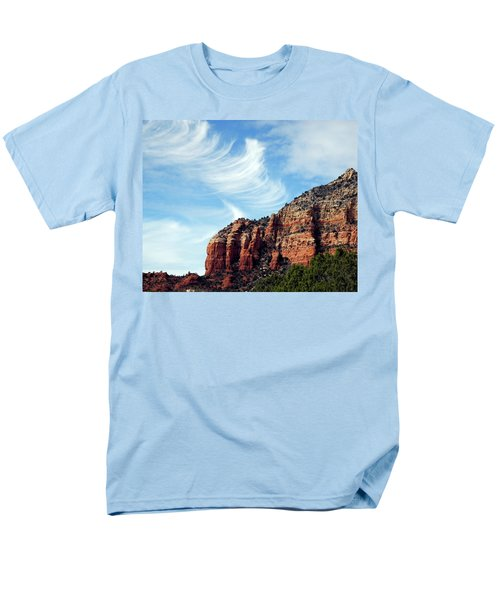 Men's T-Shirt  (Regular Fit) featuring the photograph Cirrus Clouds Over The Mesa by Lynda Lehmann