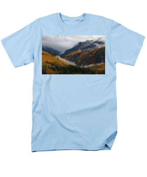 Men's T-Shirt  (Regular Fit) featuring the photograph Clouds And Fog Encompass Autumn At Mcclure Pass In Colorado by Jetson Nguyen